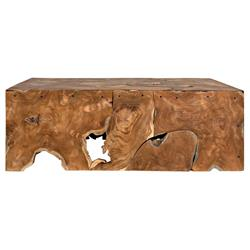 Noir Vert Rustic Lodge Teak Coffee Table