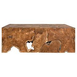 Noir Vert Rustic Lodge Teak Rectangular Coffee Table