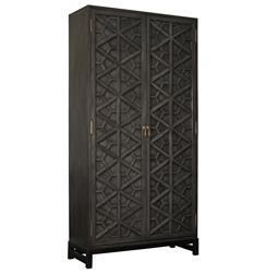 Rafaela Global Bazaar Black Lattice Front Carved Tall Cabinet