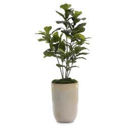 John-Richard Modern Classic Green Fiddle Leaf Fig Ceramic Potted Faux Floral