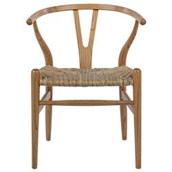 Noir Zola Rustic Lodge Brown Wood Woven Rush Seagrass Wishbone Dining Arm Chair