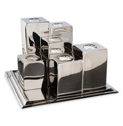 Luka Modern Silver Tea light Holders and Tray | 885023