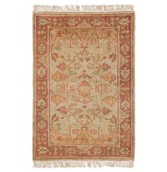 Reverie Orange Gold Global Bazaar Oriental Hand Knotted Wool Rug - 2x3