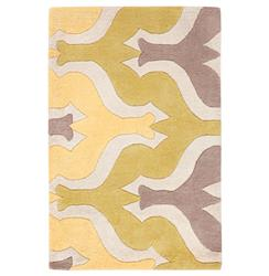 Grey Yellow Lime Global Bazaar Graphic Modern Hand Tufted Wool Rug - 2x3