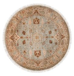 Reverie Grey Beige Global Bazaar Oriental Hand Knotted Wool Rug - 8 Foot Round