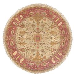 Reverie Orange Gold Global Bazaar Oriental Hand Knotted Wool Rug - 8 Foot Round