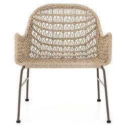 Elena Coastal Beach White Woven Wicker Iron Outdoor Woven Club Chair