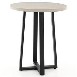Maceo Modern Classic Grey Stone Black Iron Round Outdoor Counter Table