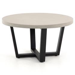 Maceo Modern Classic Grey Stone Black Iron Outdoor Coffee Table