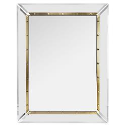 Interlude Holden Clear Acrylic Brushed Brass Rectangular Wall Mirror - Small