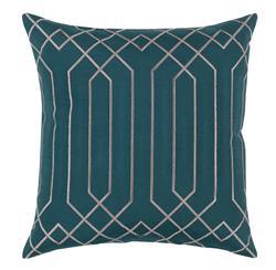 Jillian Hollywood Regency Linen Down Teal Pillow - 22x22