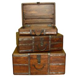Amir Wood and Iron Rustic Vintage Travel Trunks | 925043