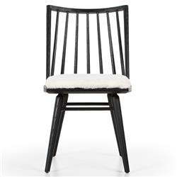 Lara Windsor Modern Classic Cream Upholstered Black Oak Wood Dining Chair