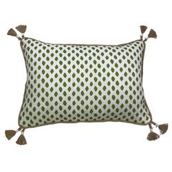 Lacefield Sahara Modern Classic Herb Burlap Pipe Tassled Lumbar Pillow - 13x19