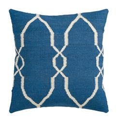 Bodie Rustic Lodge Wool Cotton Down Blue Pillow - 18x18