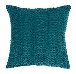 Edie Hollywood Regency Cotton Velvet Down Teal Pillow - 18x18