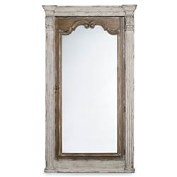 Charlotte French White Wood Full Length Antique Jewelry Storage Floor Mirror