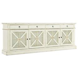 Saul French Country White Oak Wood 4 Door Media Cabinet