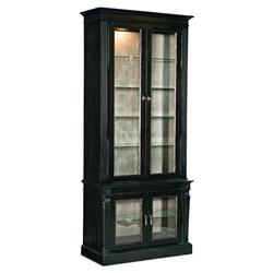 Samuel French Country Modern Black Oak Wood Glass Door China Cabinet