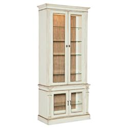 Samuel French Country White Oak Wood Glass Door China Cabinet