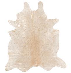 Raja Global Bazaar Cream Gold Metallic Cowhide Rug