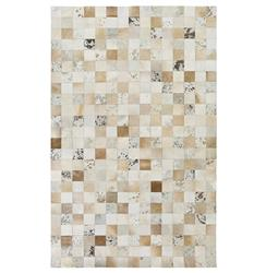 Tetovo Global Bazaar Checkered Beige Cream Cowhide Rug - 2x3