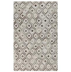 Peacock Feather Global Bazaar Grey Ivory Cowhide Rug - 2x3
