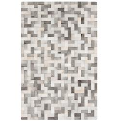 Baku Global Bazaar Brick Weave Ivory Grey Cowhide Rug - 2x3