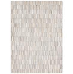 Resham Global Bazaar Vertical Tile Ivory Beige Cowhide Rug - 2x3