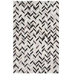 Multan Global Bazaar Chevron Black Ivory Cowhide Rug - 2x3