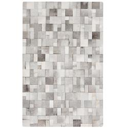 Bursa Global Bazaar Mondrian Tile Grey White Cowhide Rug - 2x3