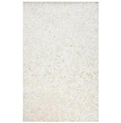 Kochi Global Bazaar Tile Ivory White Cowhide Rug - 2x3