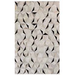 Vasant Global Bazaar Pyramid Tile Black Ivory Cowhide Rug - 2x3
