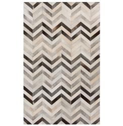 Mumbai Global Bazaar Chevron Grey Ivory Cowhide Rug - 2x3