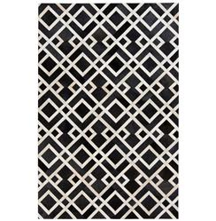 Narela Global Bazaar Diamond Black Ivory Cowhide Rug - 2x3