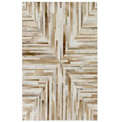 Jakarta Global Bazaar Geometric Stripes Brown Beige Cowhide Rug - 2x3