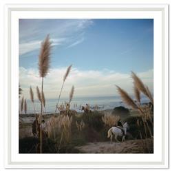 Slim Aarons Pebble Beach Equestrian Center Californian Sand November 1976, White Frame - 17x17