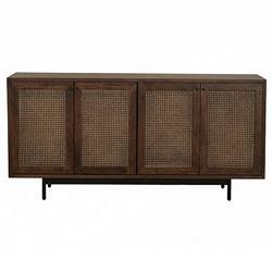 Vivian Mid Century Modern Brown Wood Woven Rattan 4 Door Rectangular Sideboard