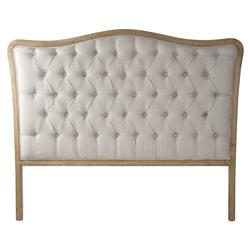 Lille French Country Natural Oak Linen Tufted Headboard- Queen