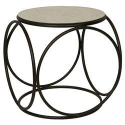 Bryon Industrial Loft Antiqued Mirror Metal Side End Table