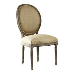 Pair Madeleine French Country Limed Oak Hemp Oval Back Dining Chair