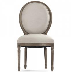Pair Madeleine French Country Laurel Leaf Oval Back Medallion Dining Chair