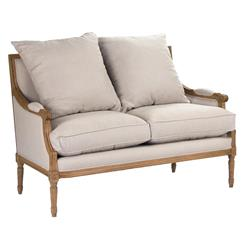 St. Germain French Country Louis XVI Natural Oak Frame Linen Settee | B007-2 E255 A003