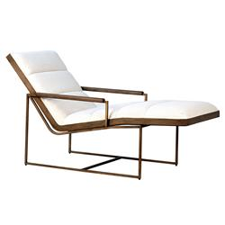 Kara Mid Century Modern Gold Metal Frame White Upholstered Lounge Chair