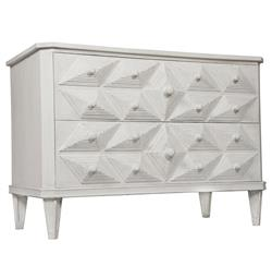 Adee Global Bazaar Diamond Carved 2 Drawer White Dresser