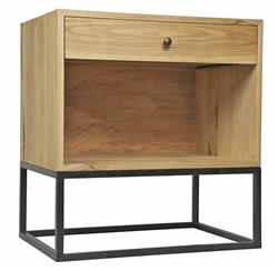 Reilly Industrial Loft Elm Metal Nightstand