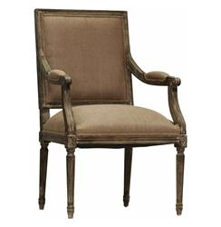 Madeleine French Country Louis XVI Limed Copper Linen Arm Chair