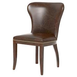 Cornelius Top Grain Cigar Brown Leather Dark Wood Dining Chair - Pair