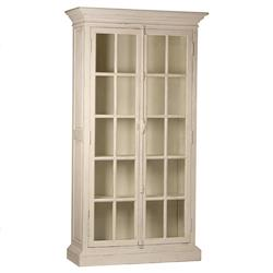Yael French Country White Wood Clear Glass Door Display Case China Cabinet