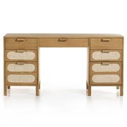 Maude Coastal Brown Oak Wood Beige Woven Cane Desk
